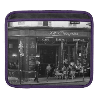 Black and White Cafe in Montmartre, Paris iPad Sleeve
