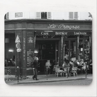 Black and White Cafe in Montmartre, Paris Mouse Pad
