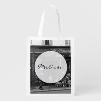 Black and White Cafe in Montmartre, Paris Reusable Grocery Bag