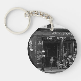 Black and White Cafe in Montmartre, Paris Single-Sided Round Acrylic Keychain
