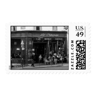 Black and White Cafe in Montmartre, Paris Stamp