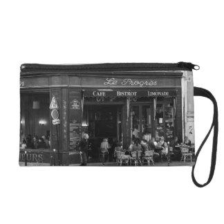 Black and White Cafe in Montmartre, Paris Wristlet Purse