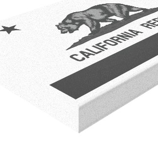 Black and White California Republic Flag Canvas Print