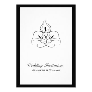 Black and White Calla Lilies Wedding Invitations