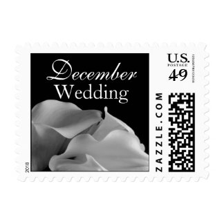 Black And White Calla Lily December Wedding Postage