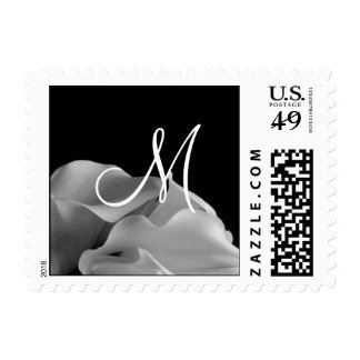 Black And White Calla Lily Wedding Monogram RSVP Postage