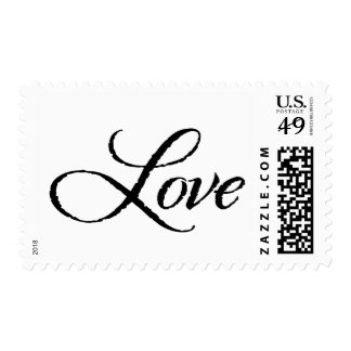 Black and White Calligraphic Love Postage Stamp