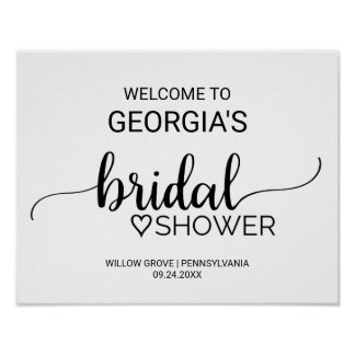 Black and White Calligraphy Bridal Shower Welcome Poster