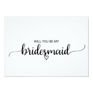 Black and White Calligraphy Bridesmaid Proposal Card