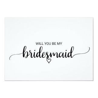 Black and White Calligraphy Bridesmaid Proposal Invitation