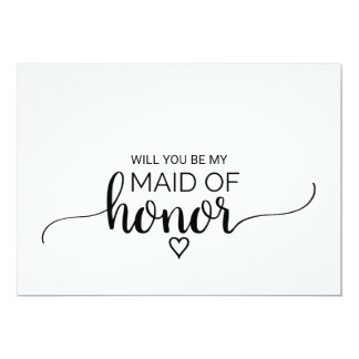 Black and White Calligraphy Maid Of Honor Proposal Card