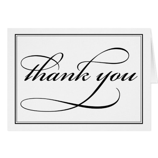 Black And White Calligraphy Thank You Note Card Zazzle