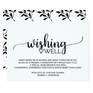 black and white calligraphy wedding wishing well card