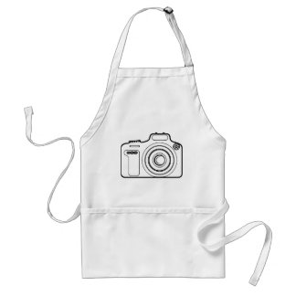 Black and white camera adult apron