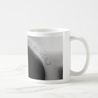 Black and white camera lens coffee mug