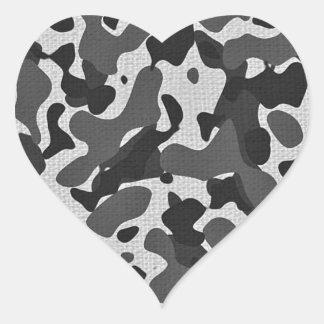 black and white camo print heart sticker