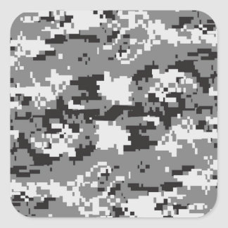 Black and White Camouflage Square Sticker