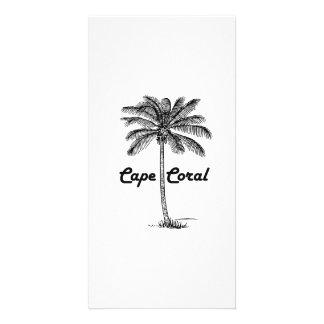 Black and White Cape Coral & Palm design Card
