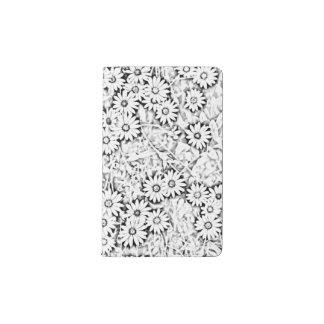 Black and White Cape Daisy Pattern Pocket Moleskine Notebook