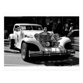 Black and white card of retro car Excalibur