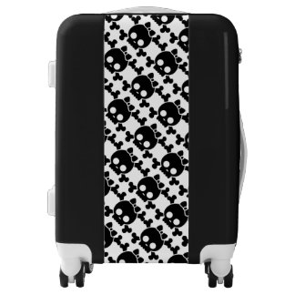 Black and White Carry On Luggage Suitcase/Skulls