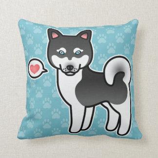Black And White Cartoon Alaskan Klee Kai Love Pillow