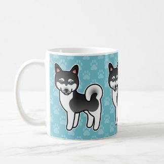 Black And White Cartoon Alaskan Klee Kai Classic White Coffee Mug