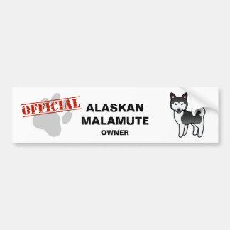 Black And White Cartoon Alaskan Malamute Car Bumper Sticker