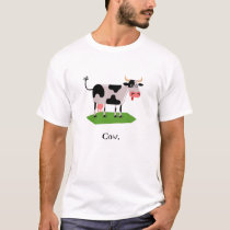 Black and White Cartoon Cow T-Shirt