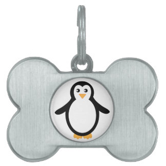 Black and White Cartoon Penguin Pet Name Tag