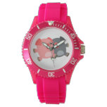 Black and White Cartoon Pigs Women Sporty Watch