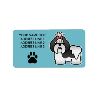 Black And White Cartoon Shih Tzu Label