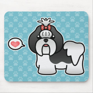 Black And White Cartoon Shih Tzu Love Mouse Pad