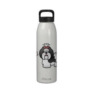 Black And White Cartoon Shih Tzu Love Water Bottle