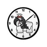 Black And White Cartoon Shih Tzu Round Wall Clocks