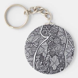 Black and White Cat 1 Keychain