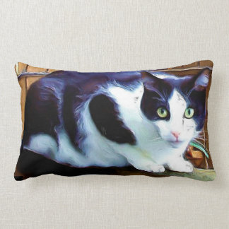 Black and white cat American mojo Pillow