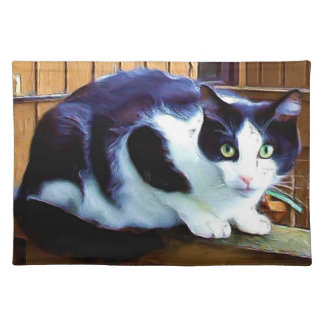 Black and white cat American mojo Placemat