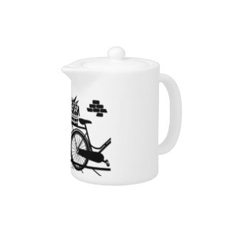 Black and White Cat and Bike in Front of Garden Teapot