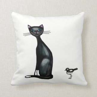 Black and white cat and birds throw pillow