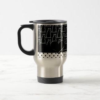 Black and White Cat and Star Pattern Travel Mug Stainless Steel Travel Mug