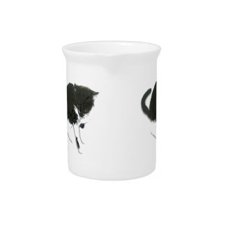 Black and White Cat Art Beverage Pitcher