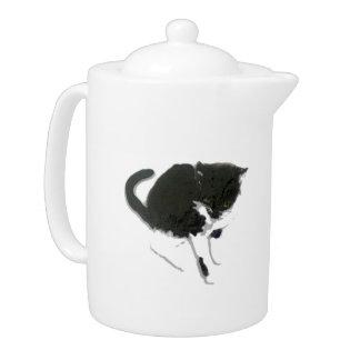 Black and White Cat Art Teapot
