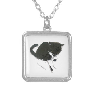 Black and White Cat Artwork Square Pendant Necklace