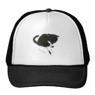 Black and White Cat Artwork Trucker Hat