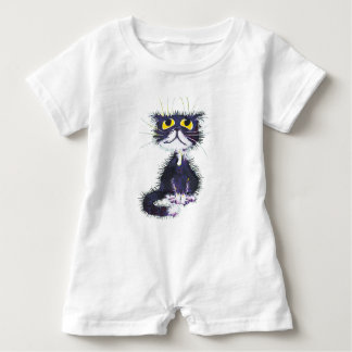 Black and white cat baby romper