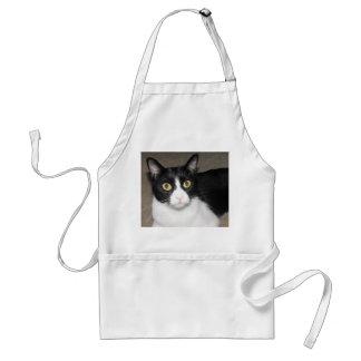 black and white cat big eyes adult apron