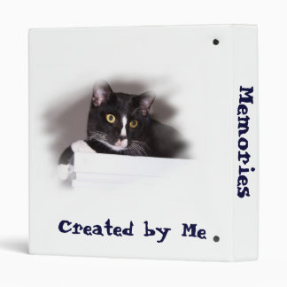 Black and white cat big yellow eyes looking right binder