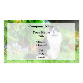 Black and White Cat by Flowers Business Card