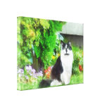 Black and White Cat by Flowers Stretched Canvas Prints